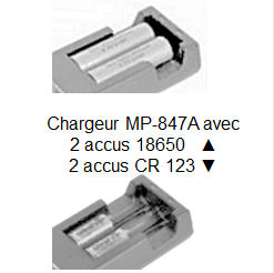 Chargeur universel MP-847A pour accus Li-ion CR123 et 18650 Digital Optic
